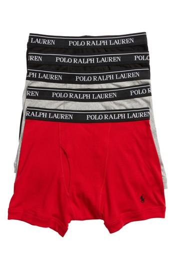 Polo Ralph Lauren 5-pack Cotton Boxer Briefs In Black/grey/red/charcoal
