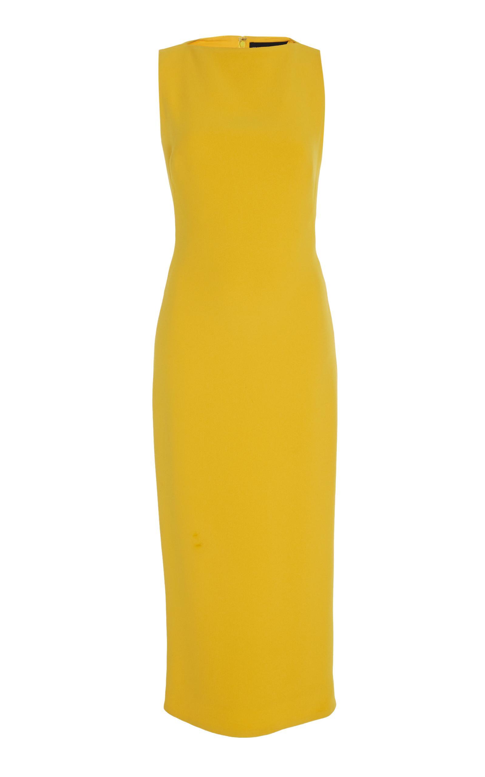 Brandon Maxwell Sleeveless Boat-Neck Double-Face Crepe Sheath Midi Dress In  Bright Yellow 5da7f5cdf