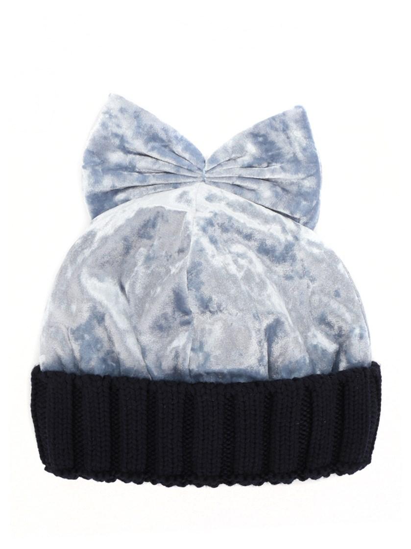 023abf0be8b Federica Moretti Velvet   Wool Knit Beanie Hat W  Bow In Blue