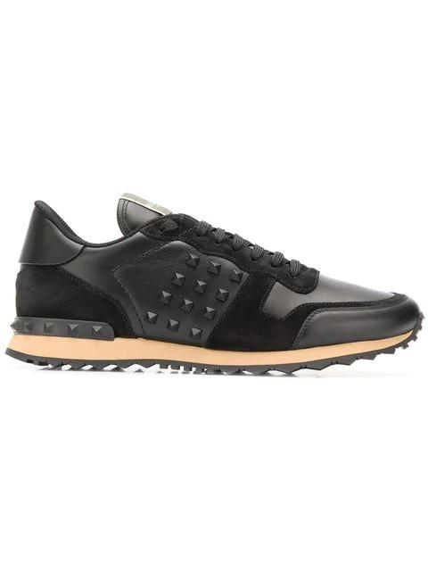 Valentino Garavani Garavani Rockrunner Black Leather Sneakers In 0no Black