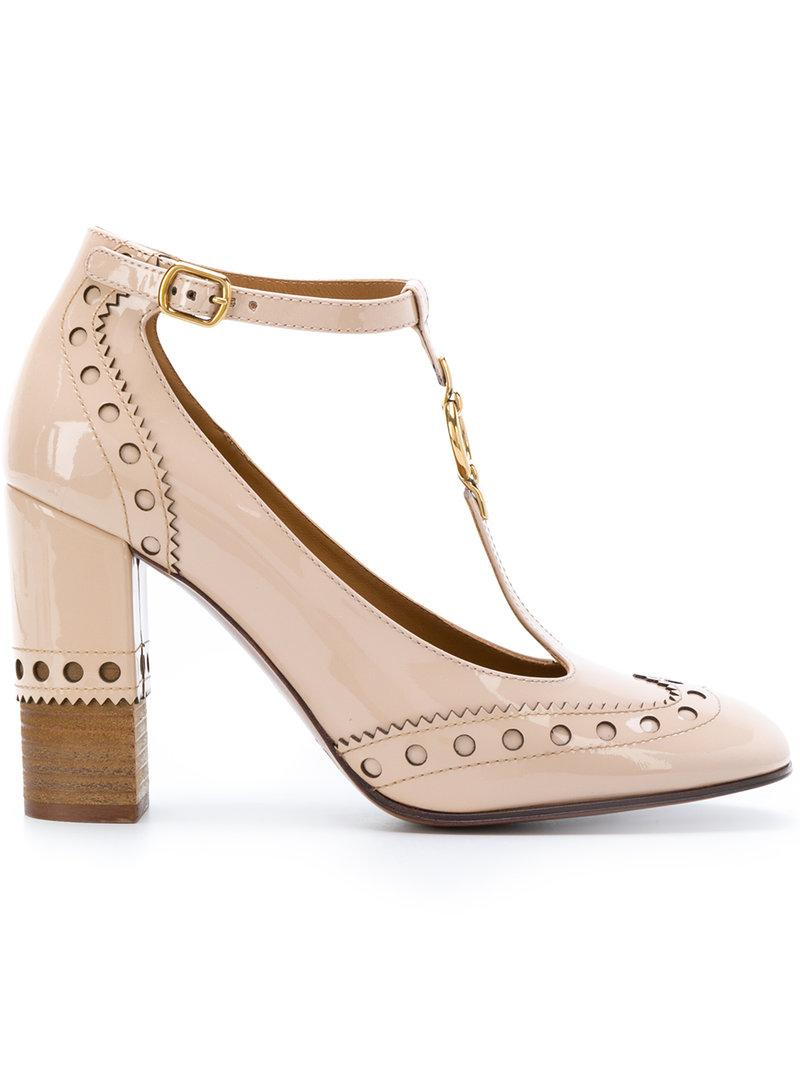 4834ae77433a ChloÉ Perry Patent Leather Mary Jane Pumps In Mild Beige