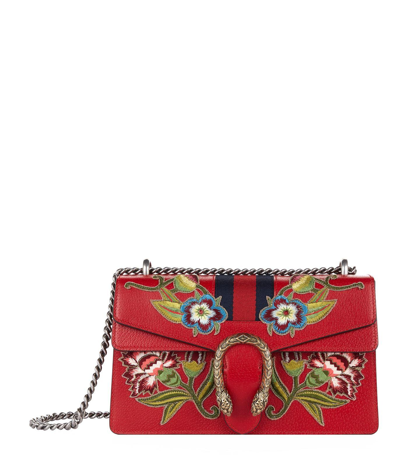 73caab43b299 Gucci Dionysus Small AppliquÉD Textured-Leather Shoulder Bag In Red ...