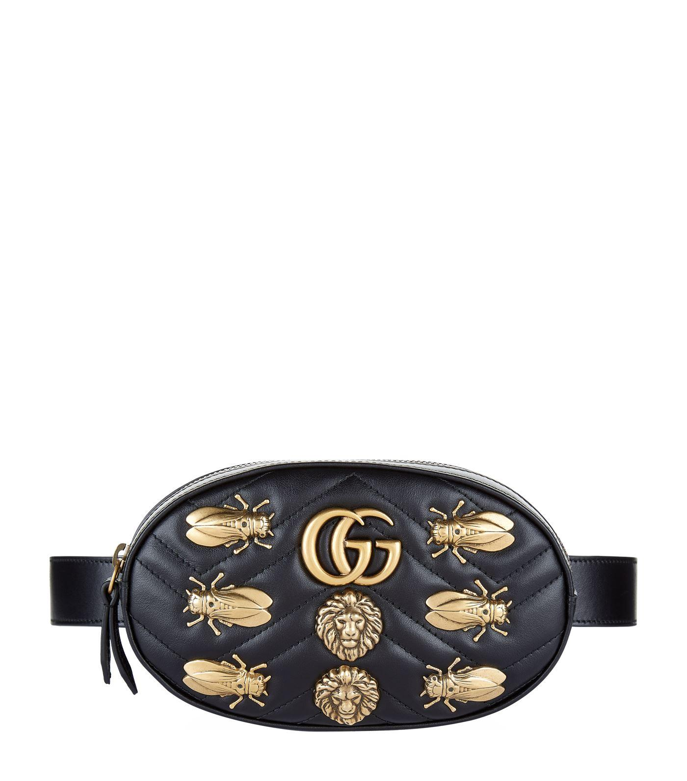 Gucci Medium Gg Marmont Belt Pack W/ AppliquÉs In Black