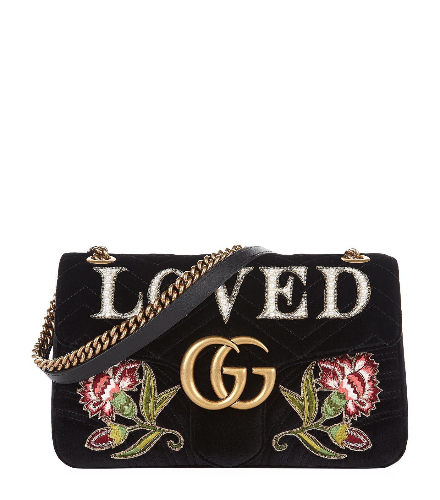b178066a451 Gucci Gg Marmont Medium Embroidered MatelassÉ Velvet Shoulder Bag In ...
