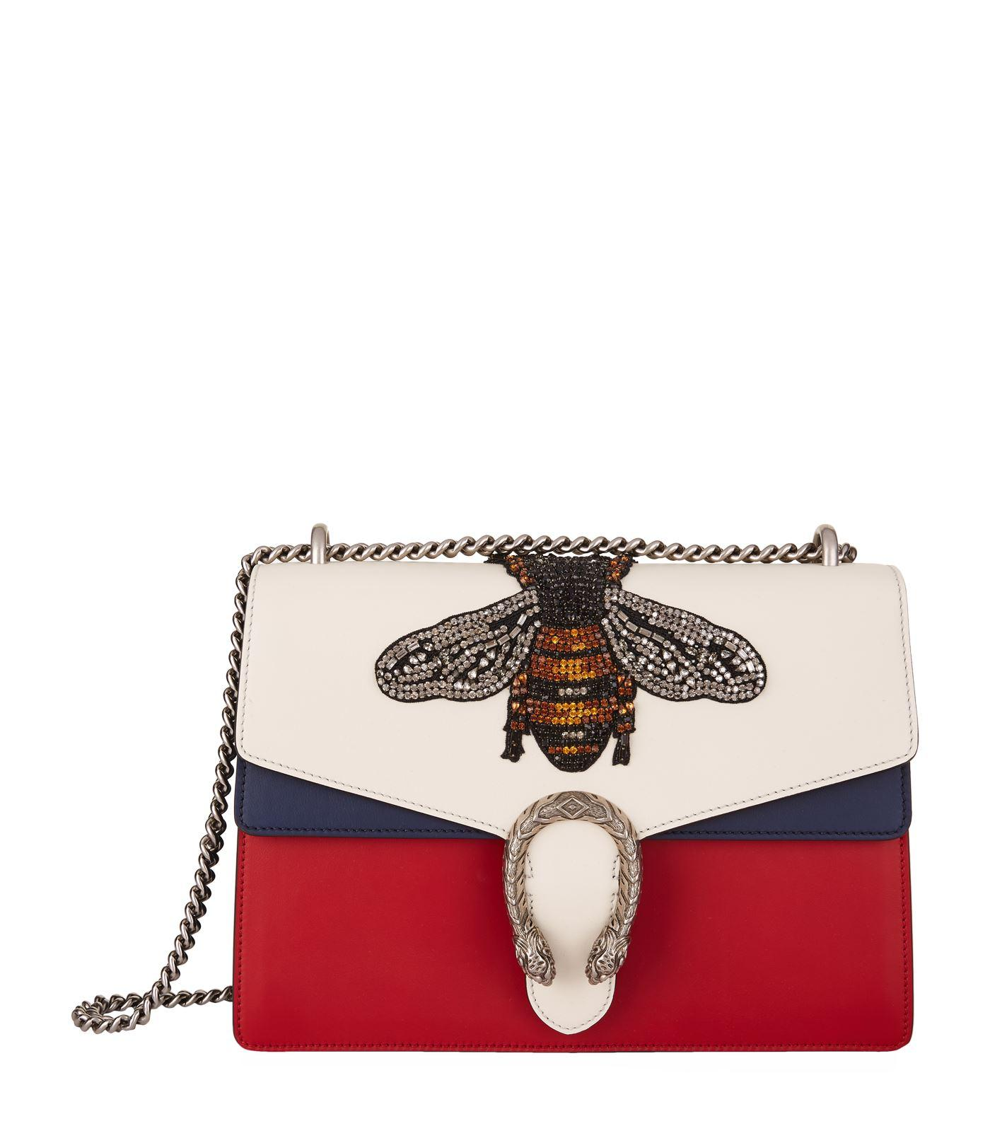 c04b1e3c251 Gucci Women's Dionysus Crystal Embellished Bee Crossbody Bag In Red, White  And Navy