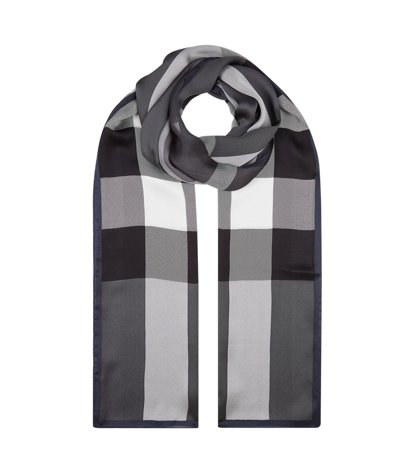 Burberry Mega Check Ultra-washed Satin Scarf In Grey