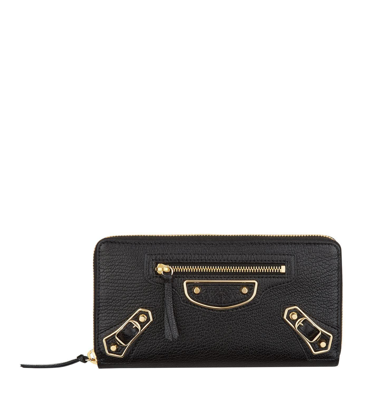 Balenciaga Metallic Edge Textured-leather Continental Wallet In Black