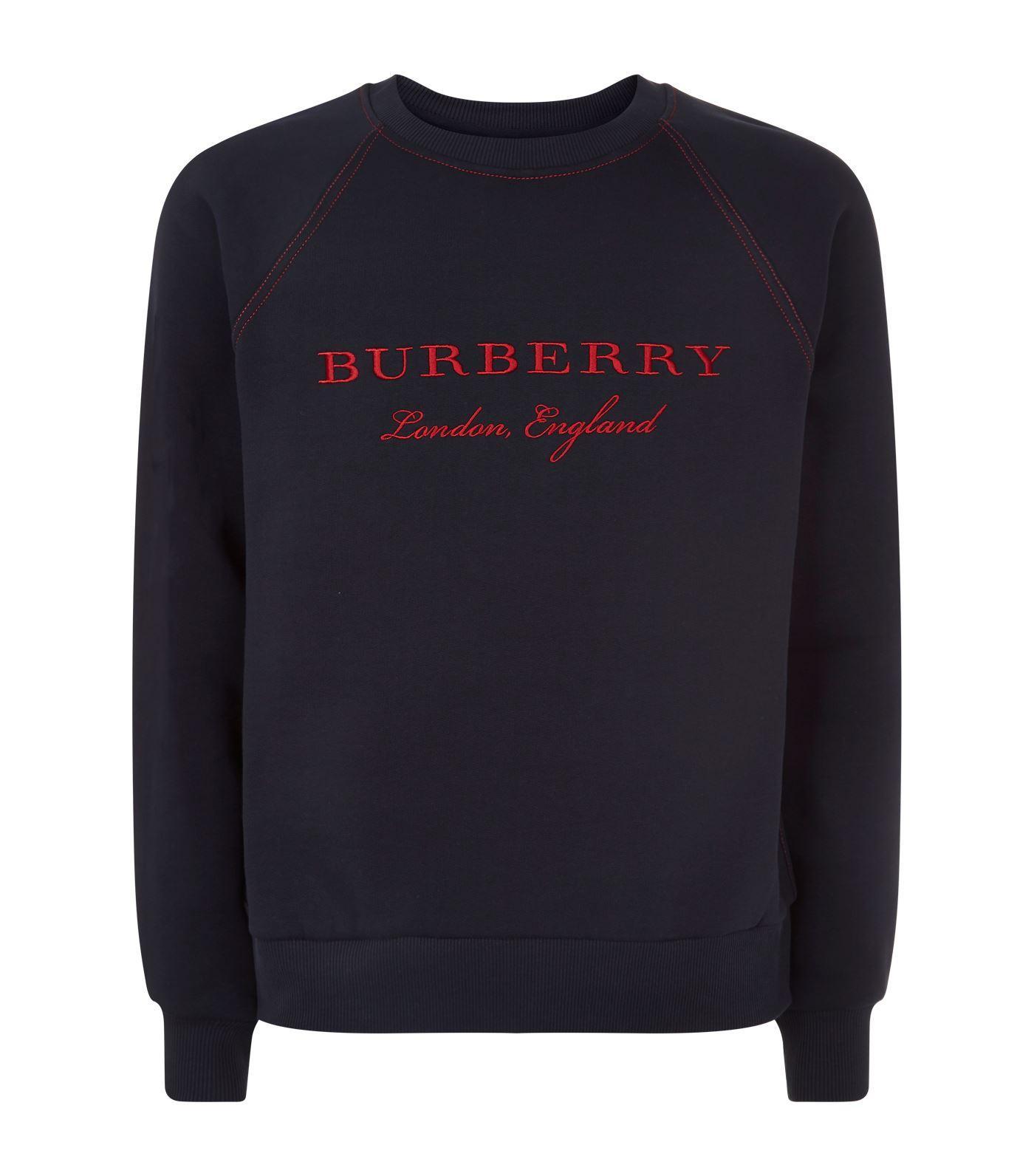 Burberry Contrasting Stitching Wool Sweatshirt In Navy