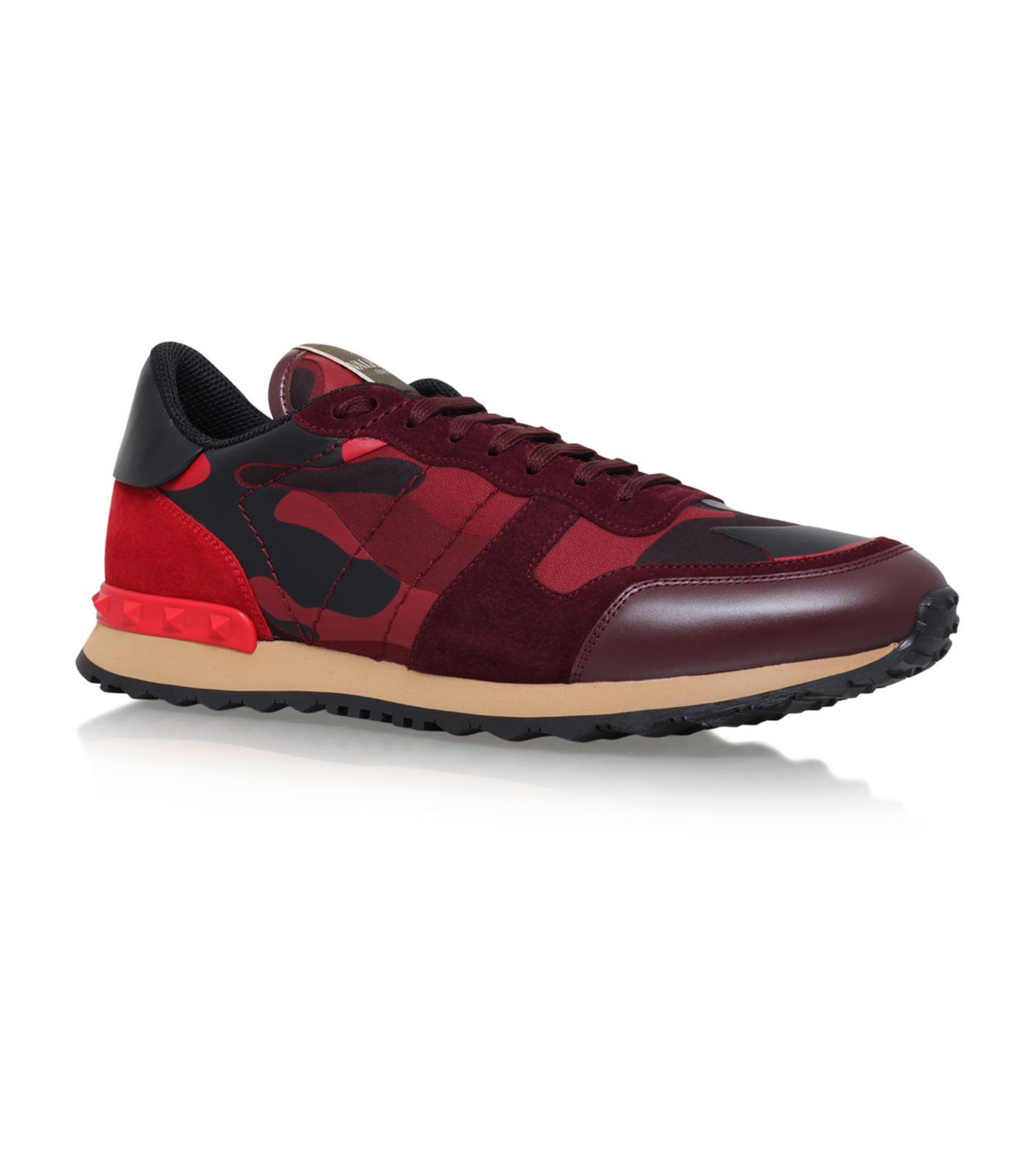 Valentino Rockrunner Camouflage-Print Suede Sneakers In R30 Rubino Scarlet Rosso