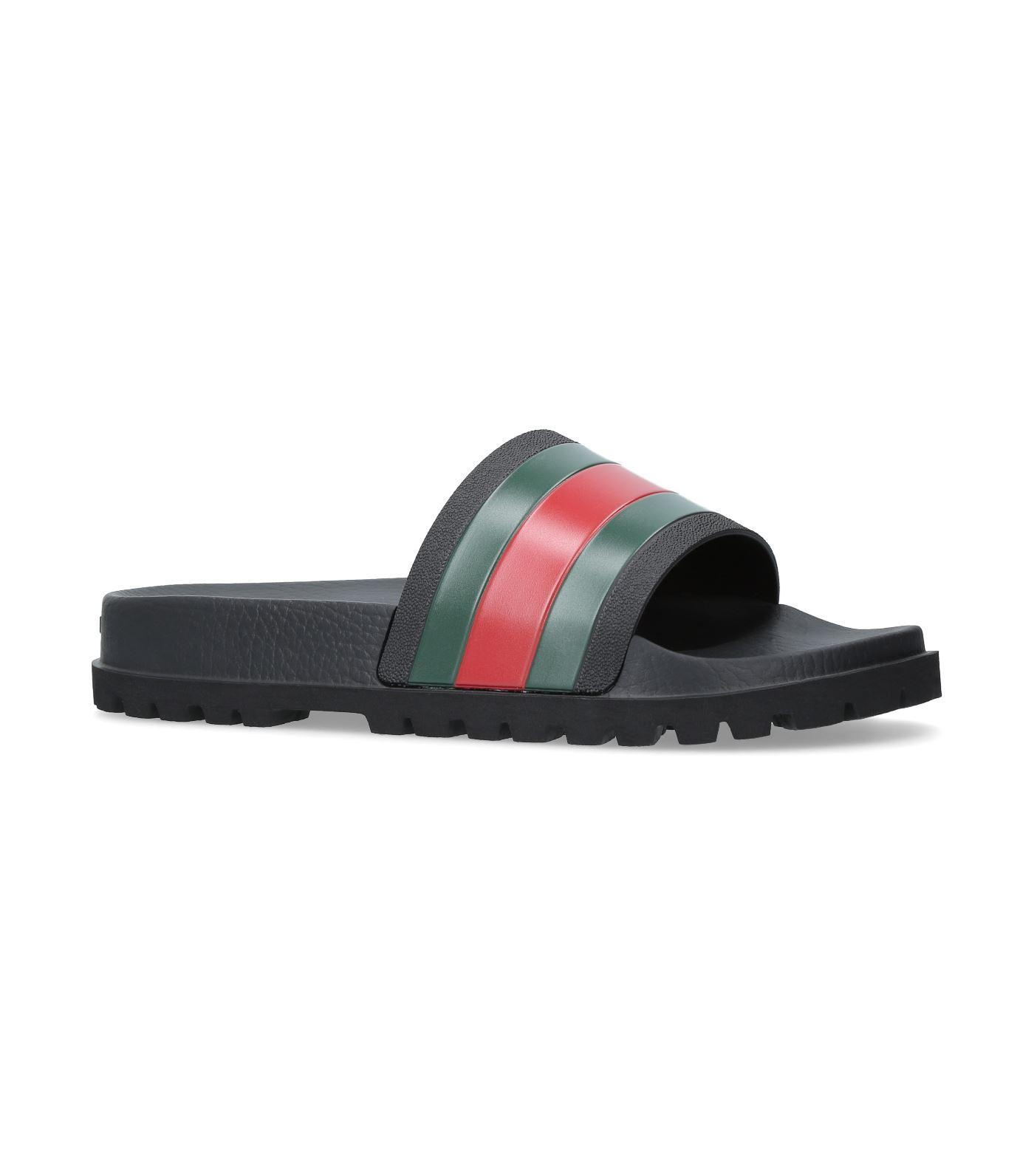3323c7b7db1a04 Gucci Tricolor Stripe Sandals In Black In 1098 Black