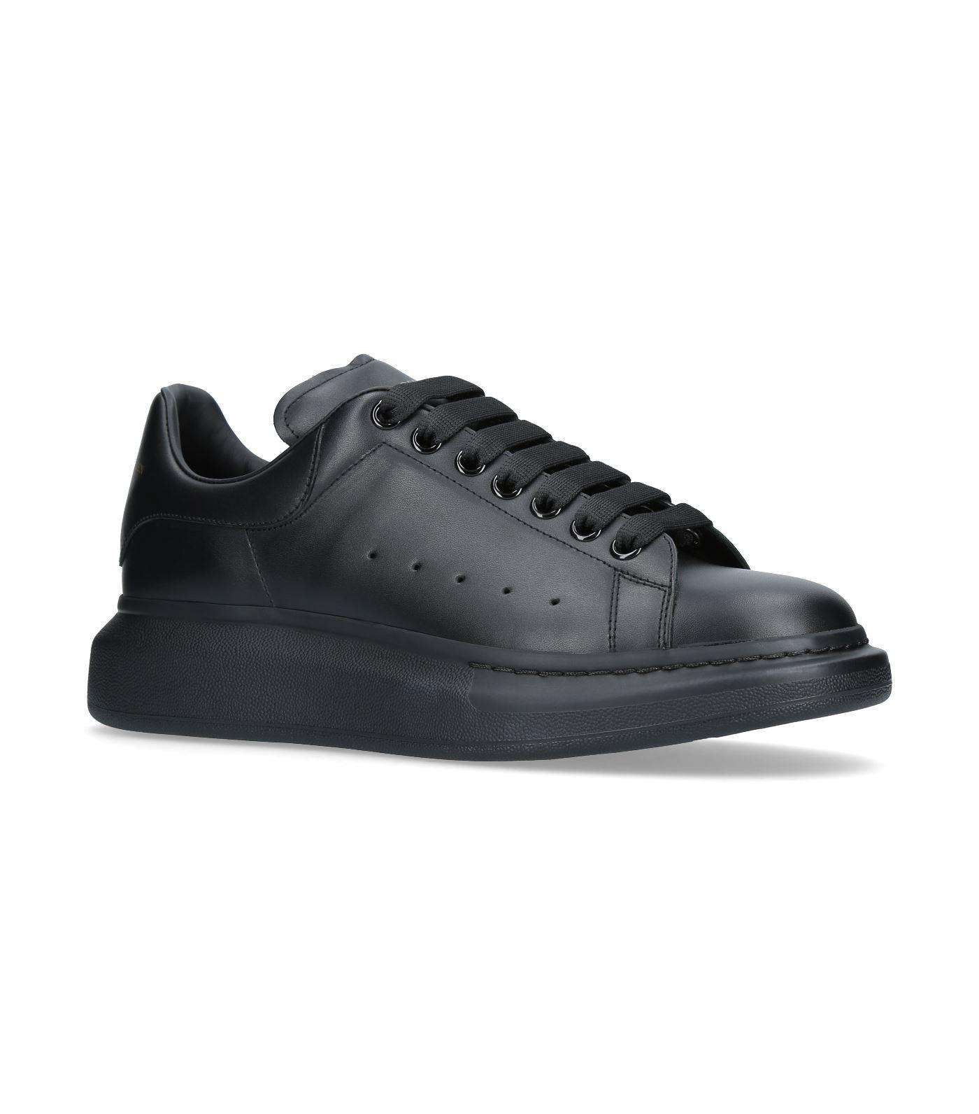 Alexander Mcqueen Show Leather Platform Trainers In Black