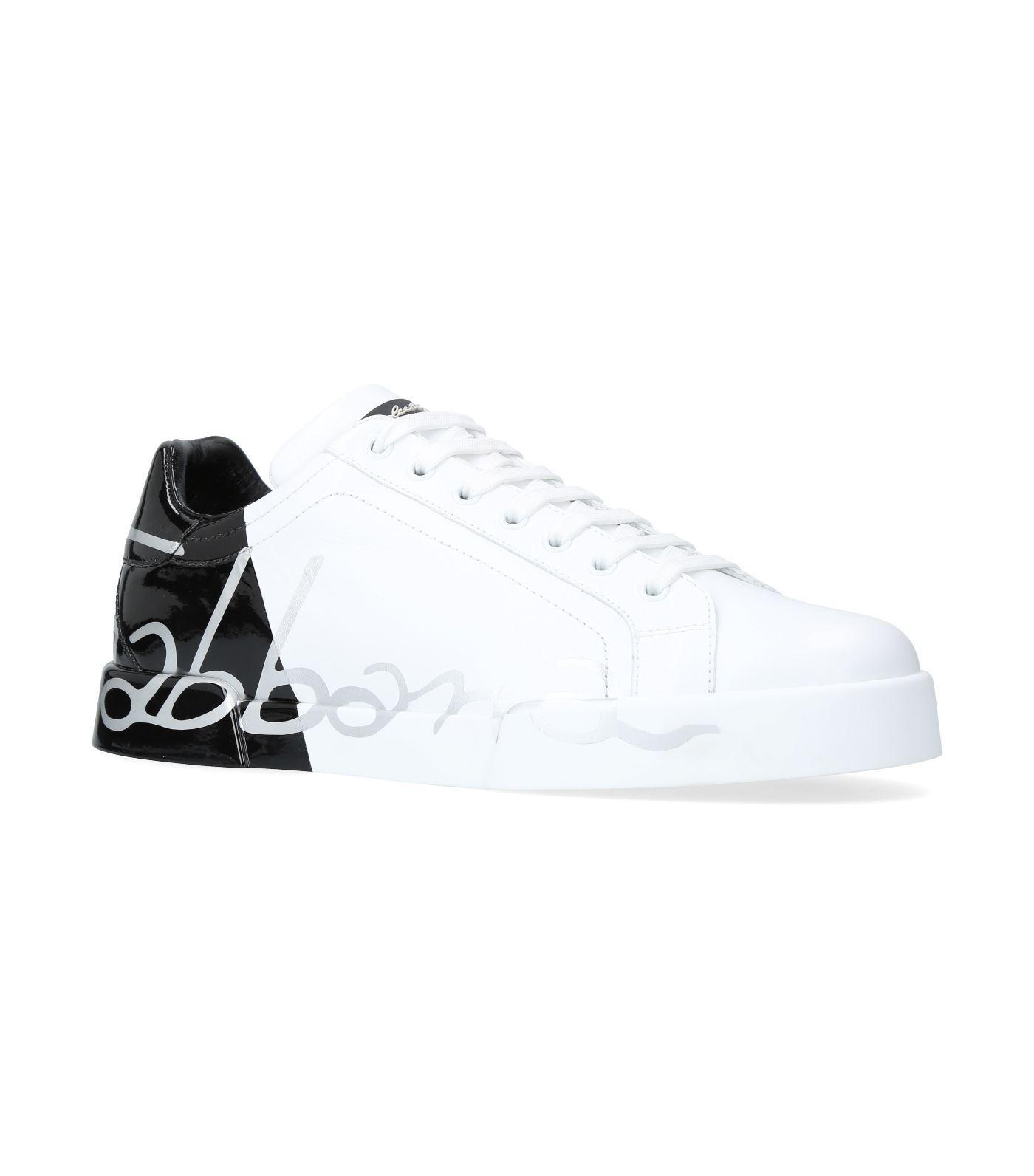 Dolce & Gabbana Dolce And Gabbana White Patent Trim Portofino Sneakers In Hn821 White