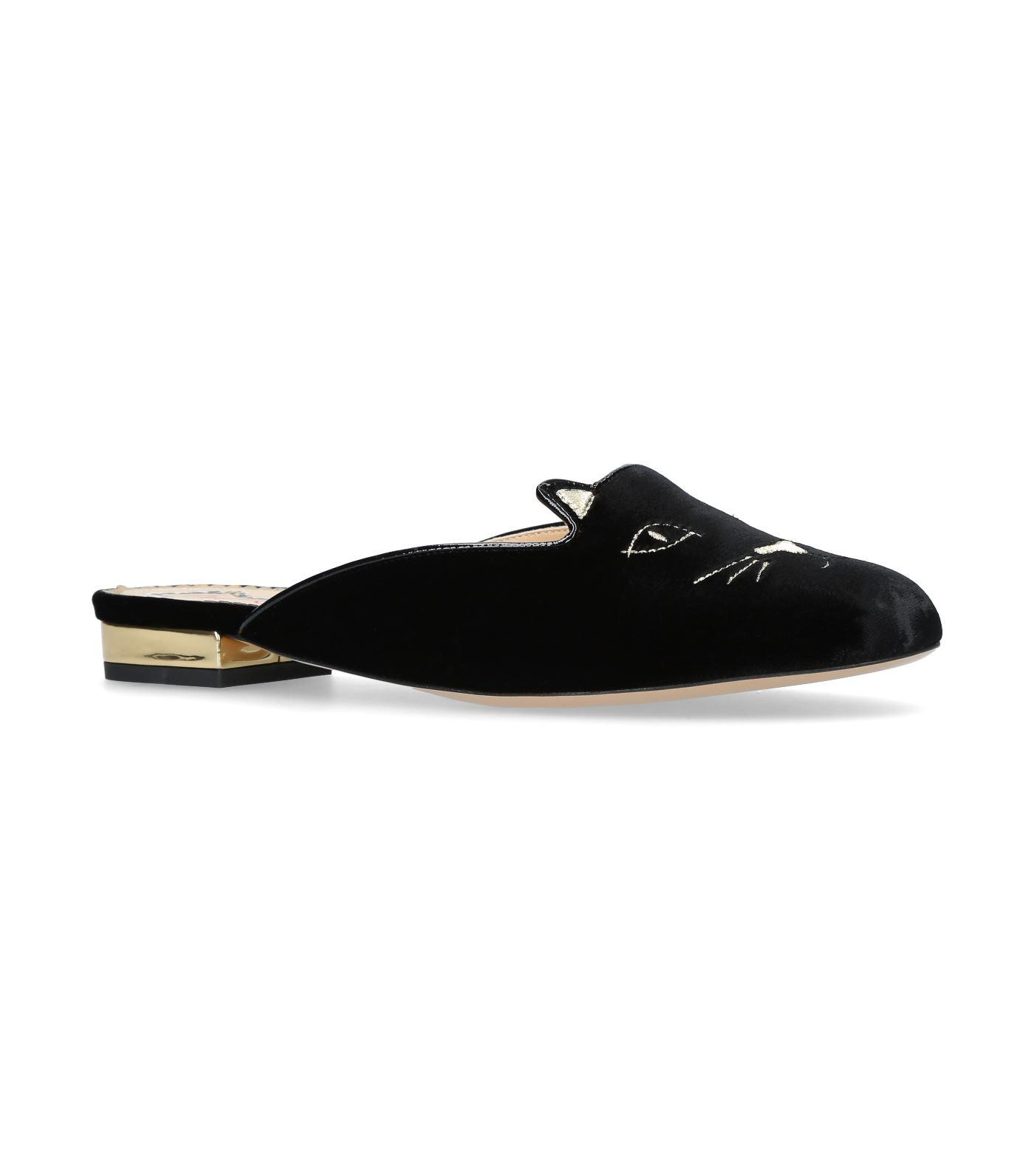 8c59529fc5e Charlotte Olympia Kitty Cat Face-Embroidered Velvet Backless Loafers In  Black