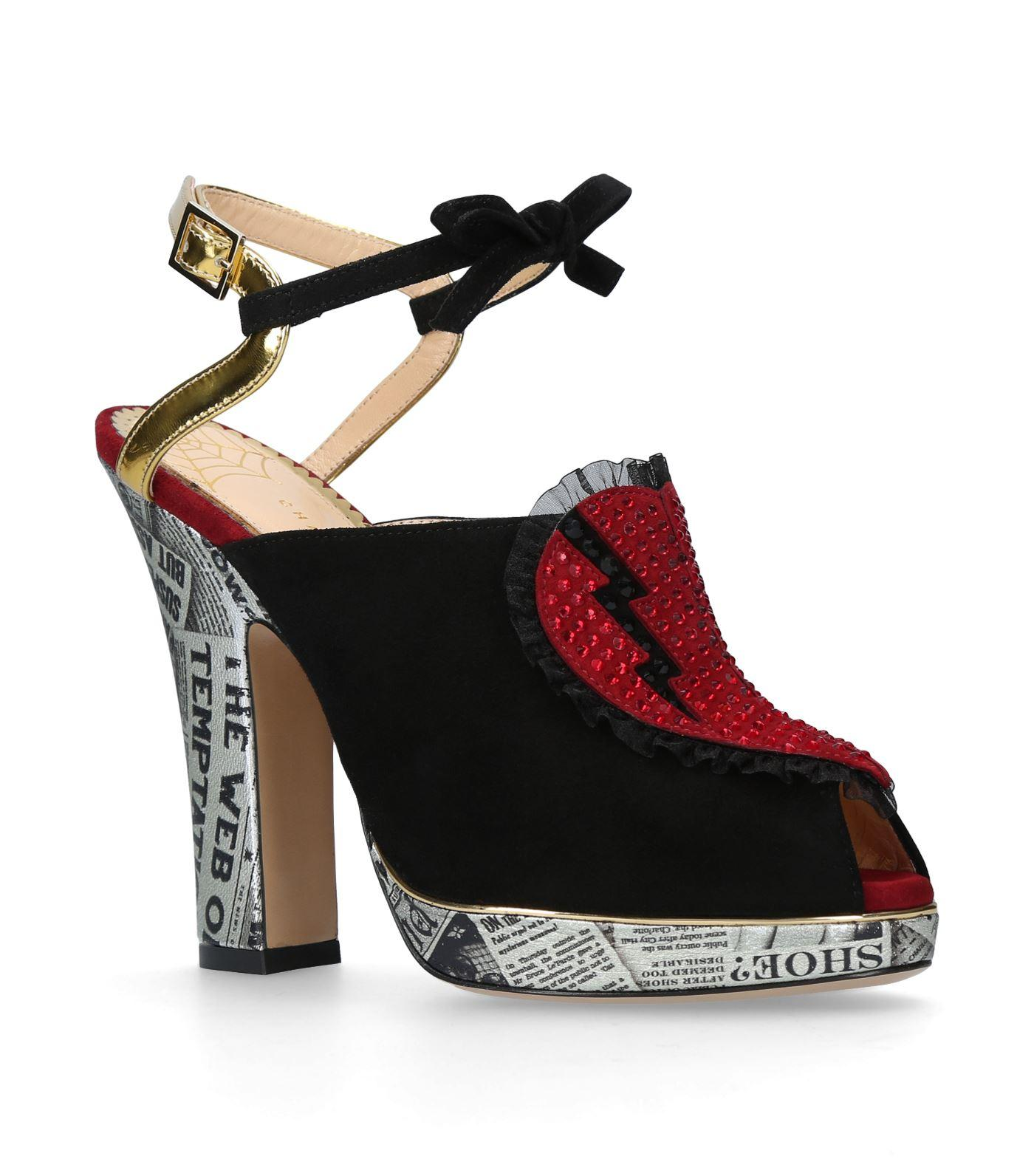 57f1d552fb Charlotte Olympia Killer Heels Embellished-Heart Suede Sandals In Black,  Red And White