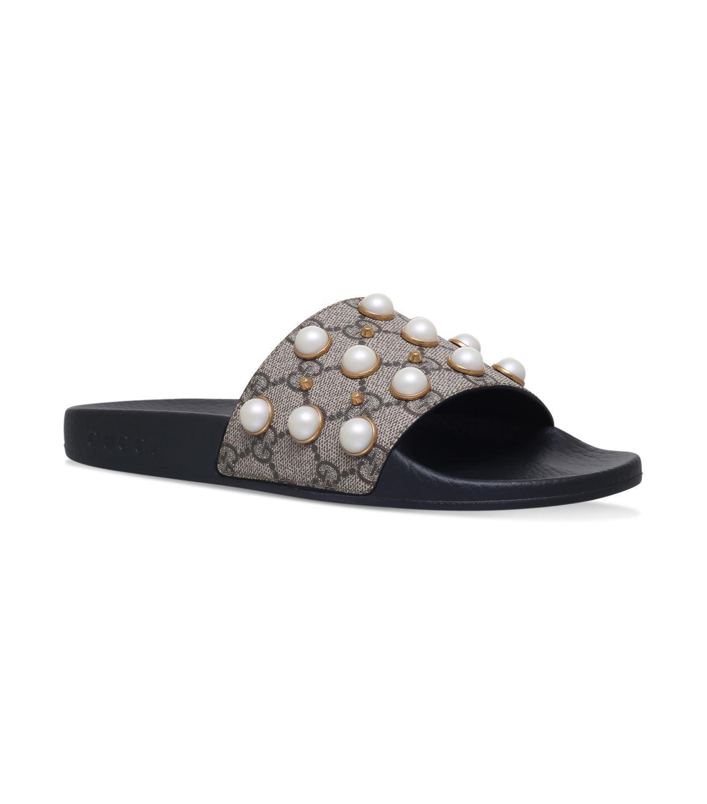 f21387549c51 Gucci Pursuit Imitation Pearl Embellished Slide Sandal In Brown ...