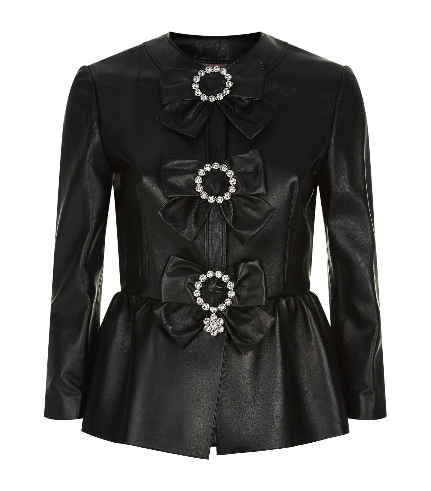 Gucci PlongÈ Leather Peplum Jacket In Black