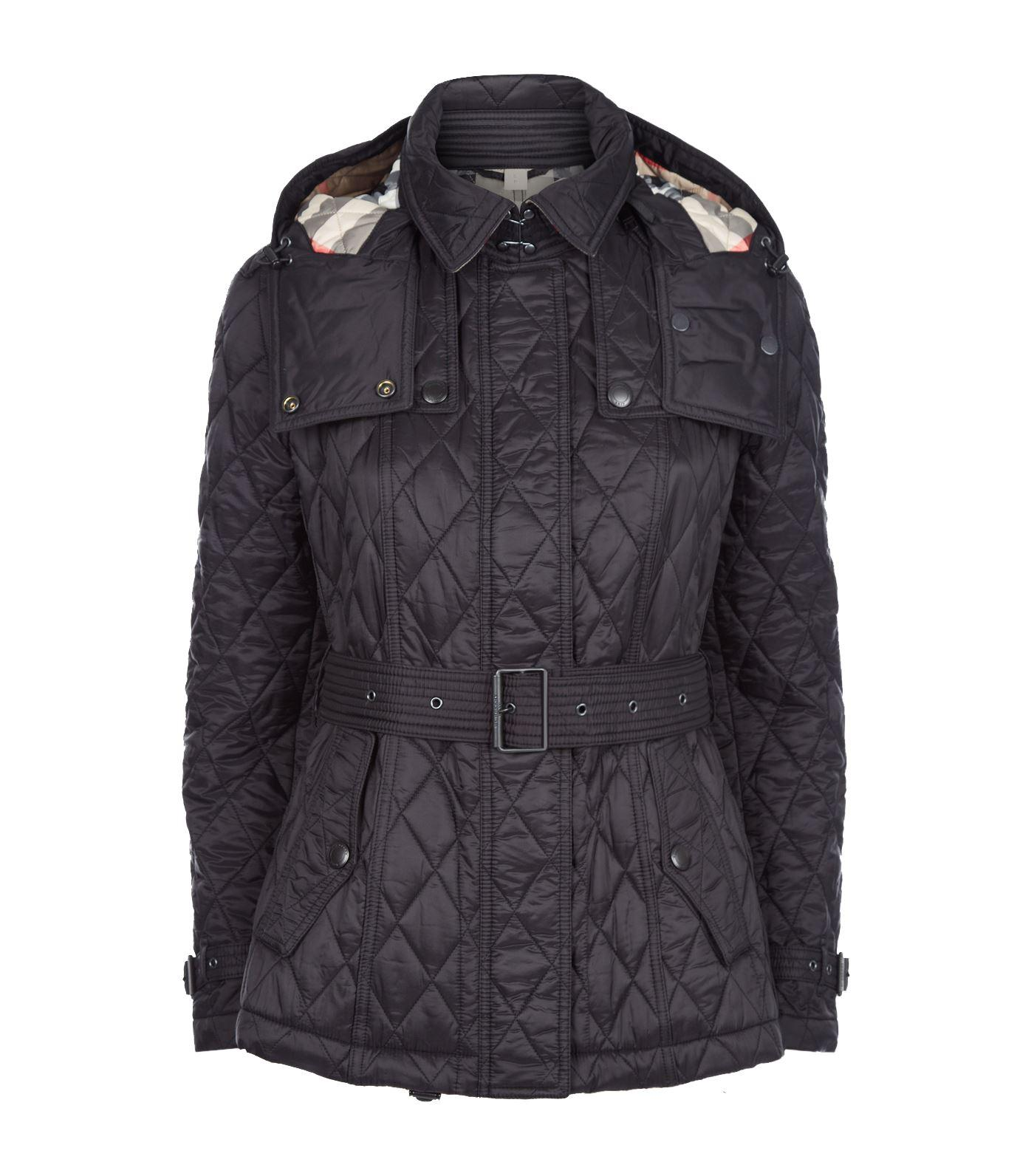 Burberry Quilted Trench Jacket With Detachable Hood In Black