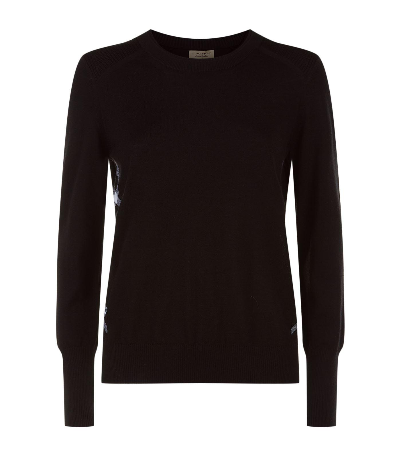Burberry Meigan Long-sleeve Crewneck Check-side Sweater, Black