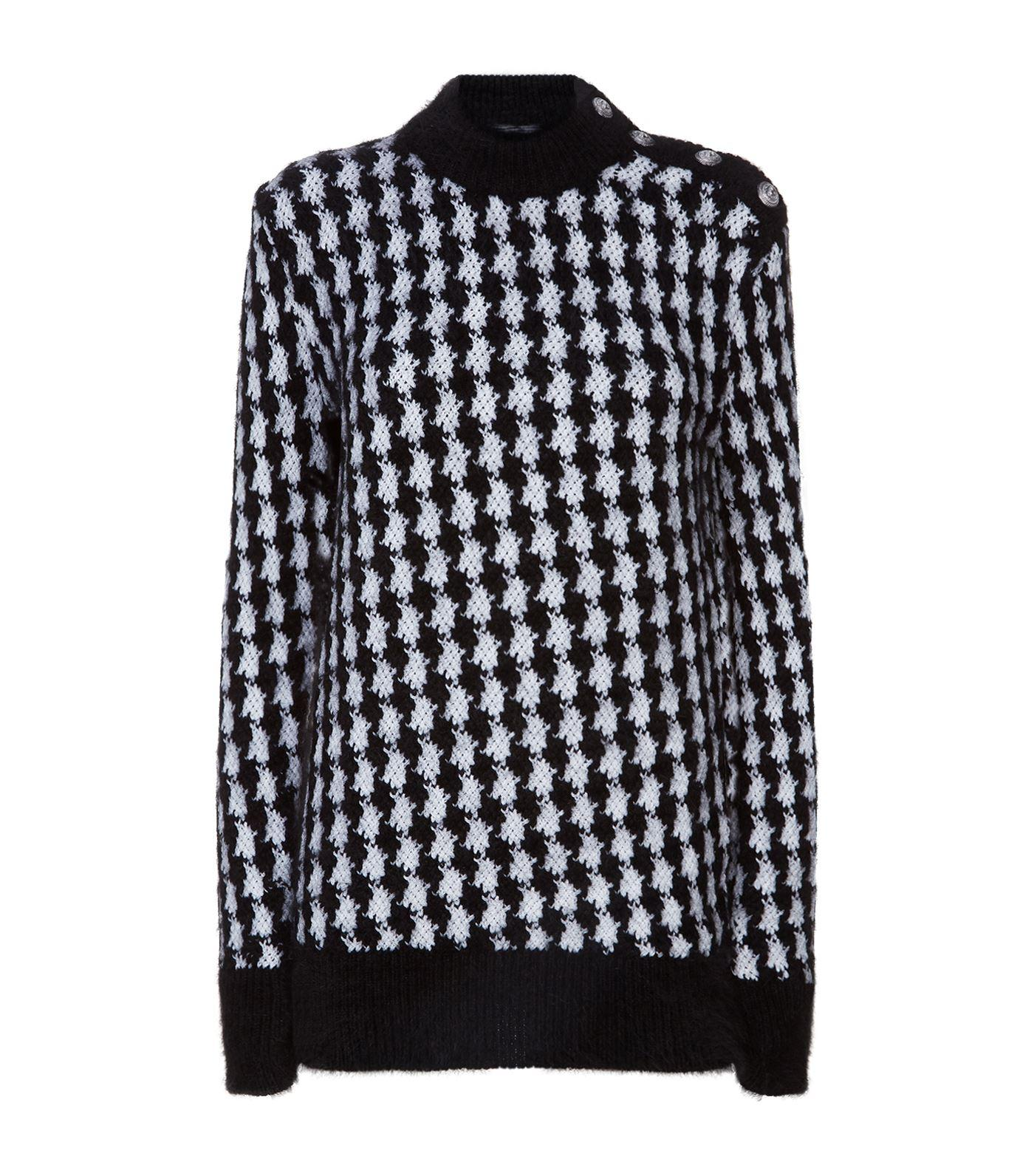 c0a4574aa04 Balmain Oversized Houndstooth Jumper In Black