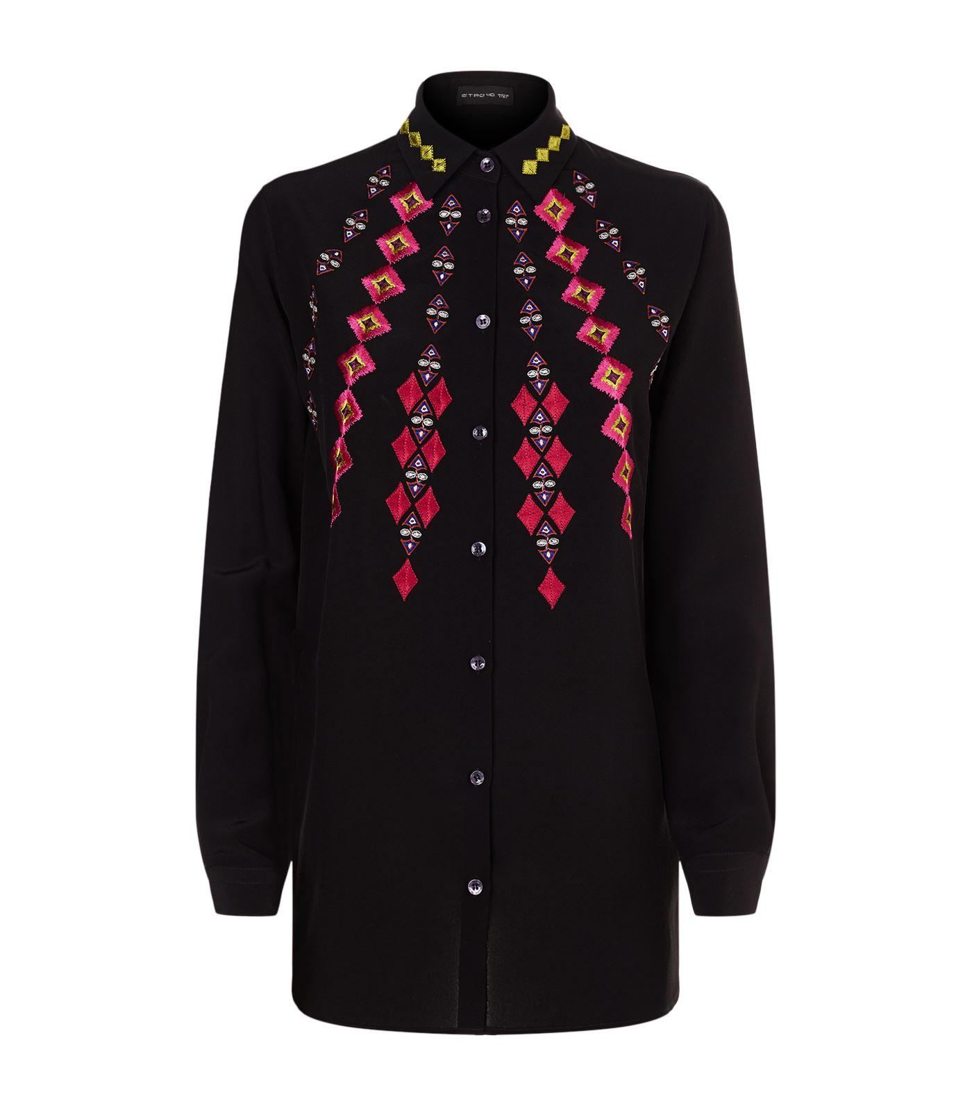 Etro Diamond Embroidered Silk Blouse In Multi