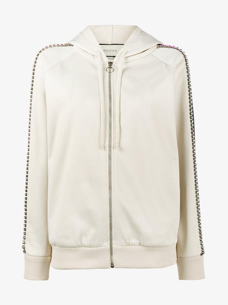 bbc4a24a092 Gucci Ivory Crystal Embellished Jersey Hoodie In Neutrals