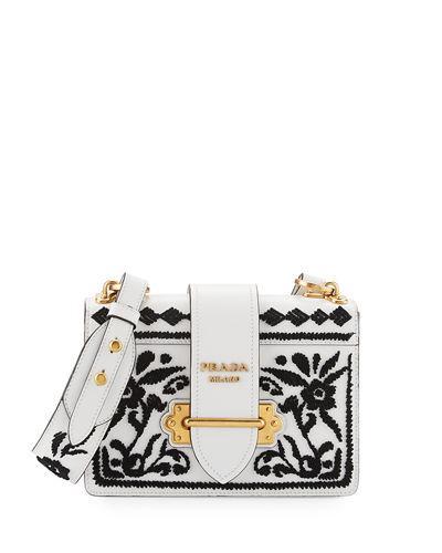 ccdb64ddb437 Prada Madras Embroidered Cahier Shoulder Bag In Bianco-Nero   ModeSens
