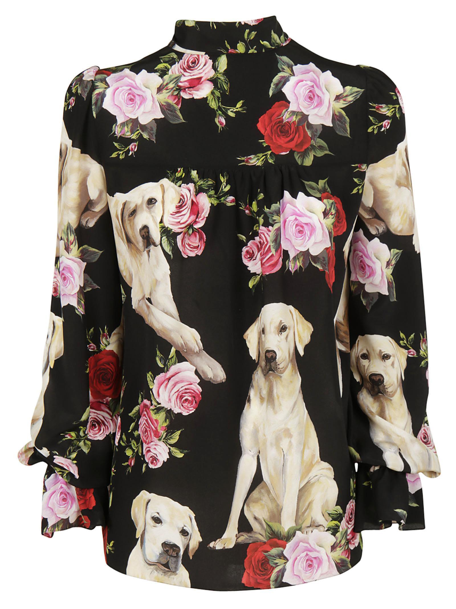 ccd3452b Dolce & Gabbana Floral & Golden Retriever Silk Tie-Neck Blouse, Black In  Black