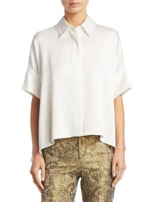 Alice And Olivia Alice + Olivia Edyth High/low Button-down Top In White