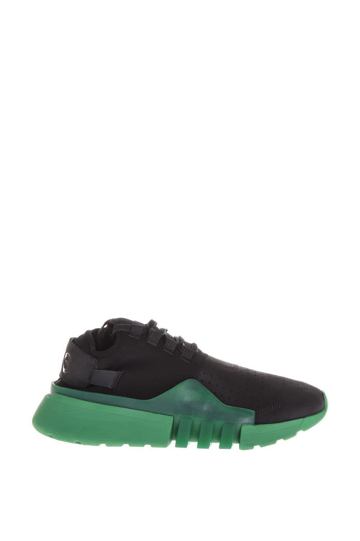 a52ba09ea39d2 Y-3 Ayero Neoprene   Leather Sneakers In Black Green