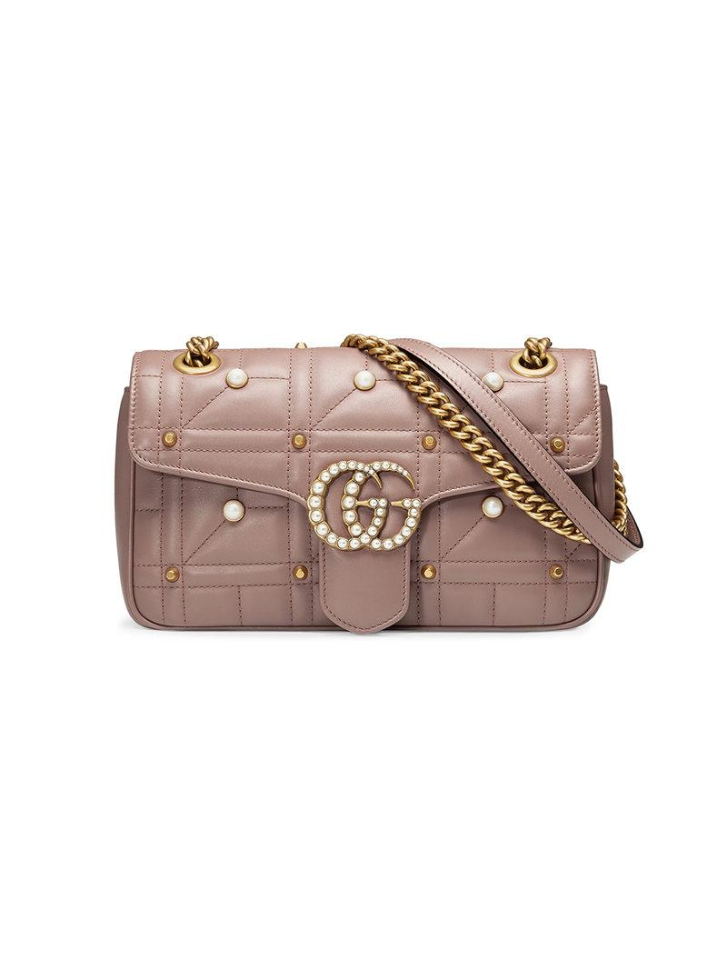 e55b9589d1d2f Gucci Gg Marmont Matelasse Imitation Pearl Leather Shoulder Bag - White In  Nude