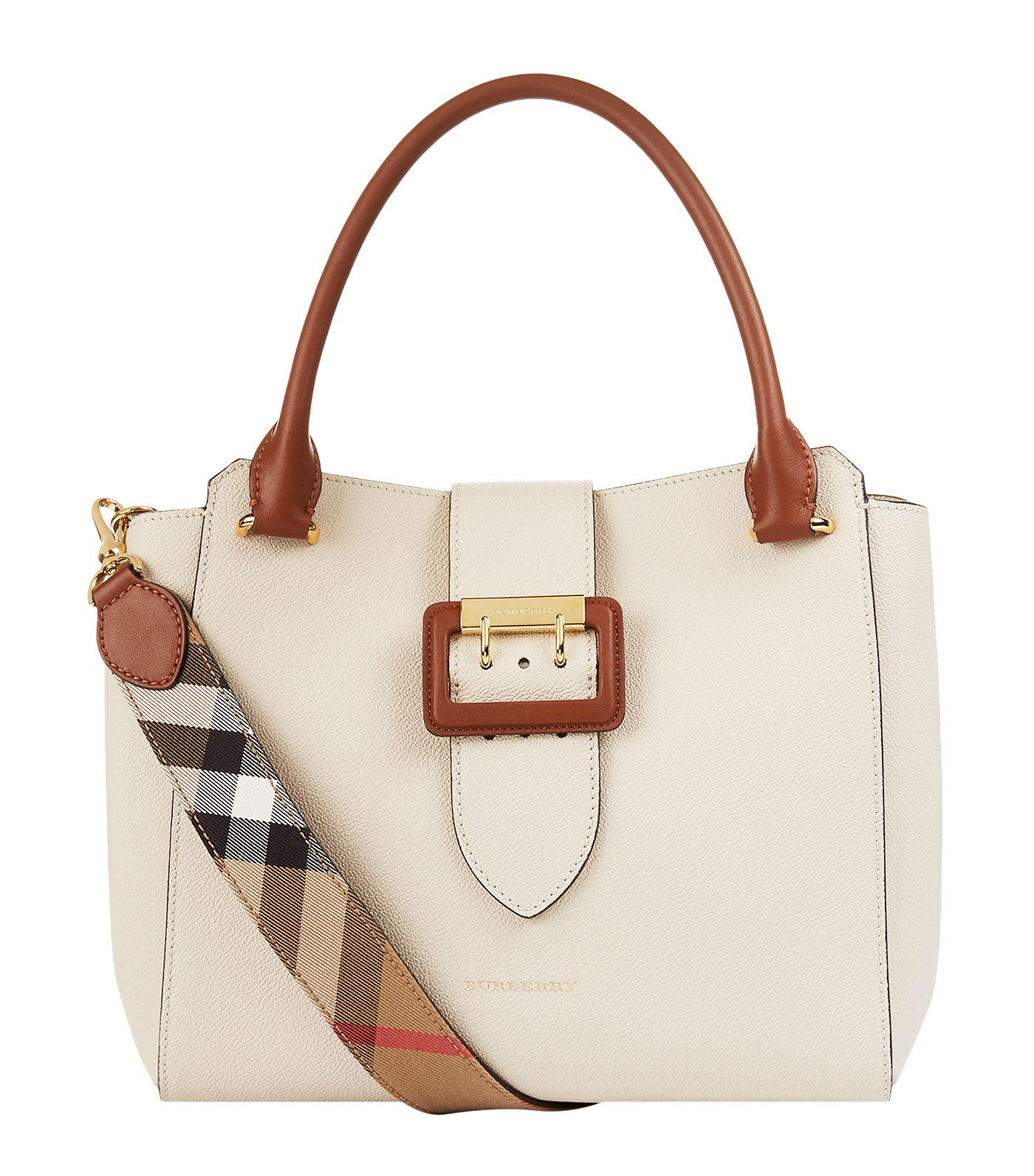 8cd6a1b707 Burberry The Medium Buckle Tote In Two-Tone Grainy Leather In Limestone