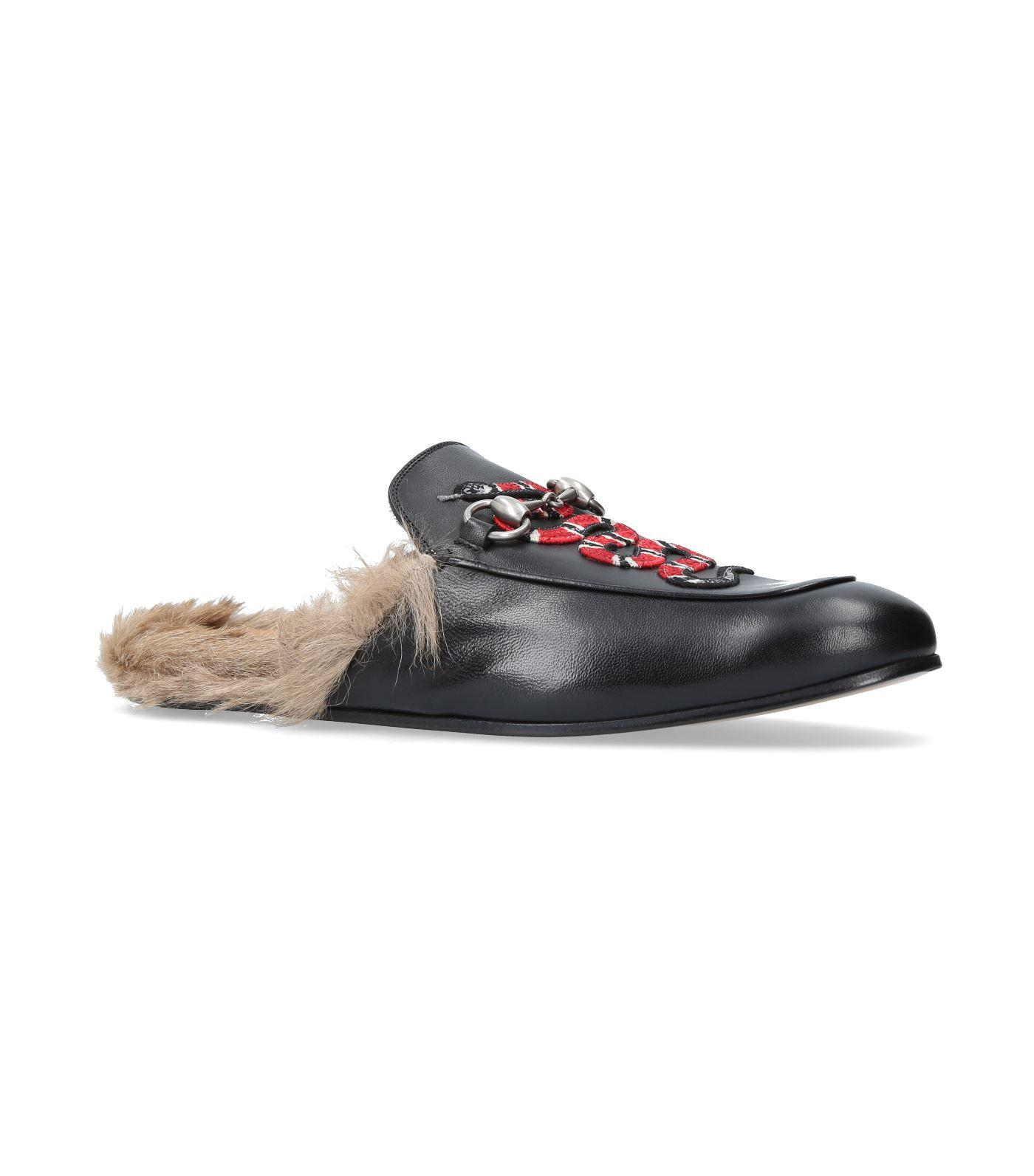 31f4a8d5aac Gucci Princetown  Snake Embroidered Kangaroo Fur Leather Slide Loafers In  Black