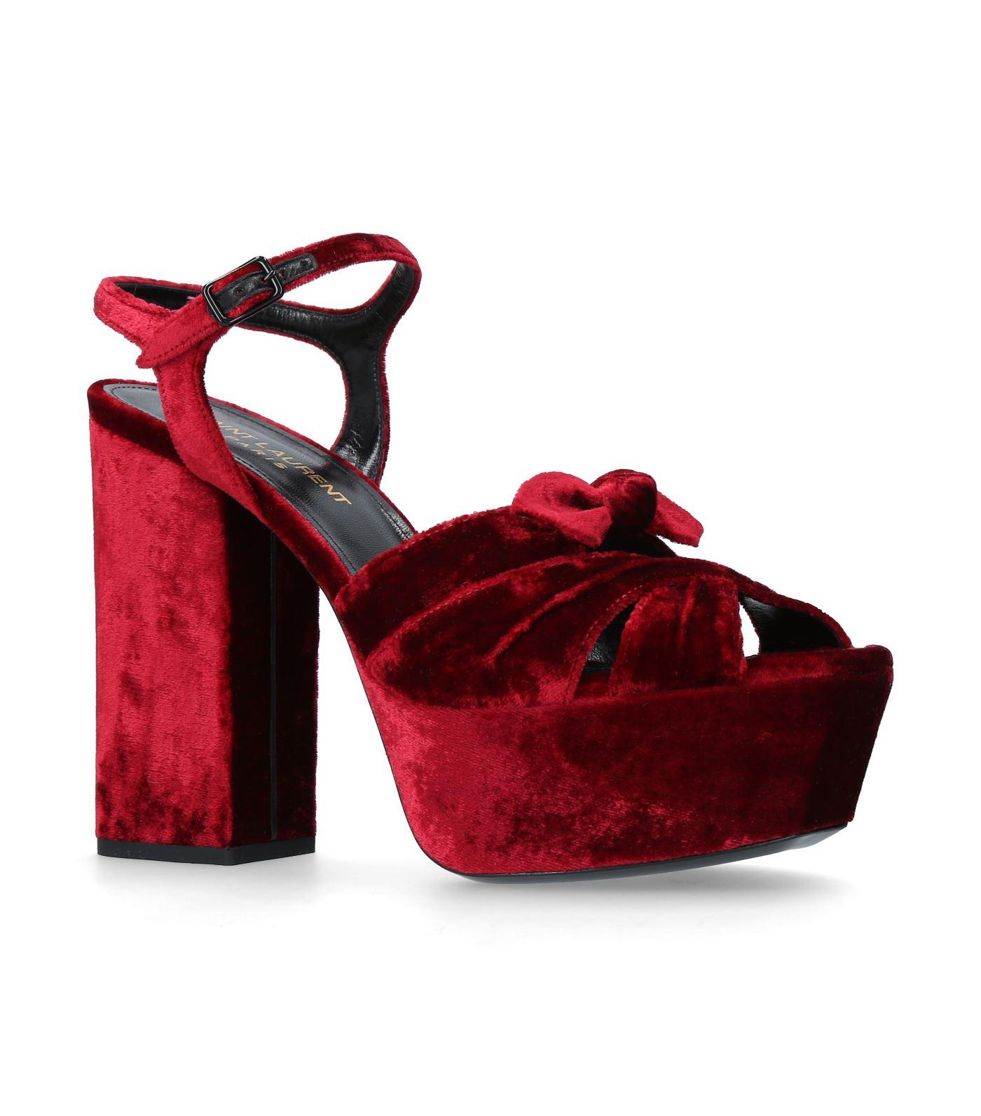 0d8943cb57 Saint Laurent Farrah Bow-Embellished Velvet Platform Sandals In Red ...