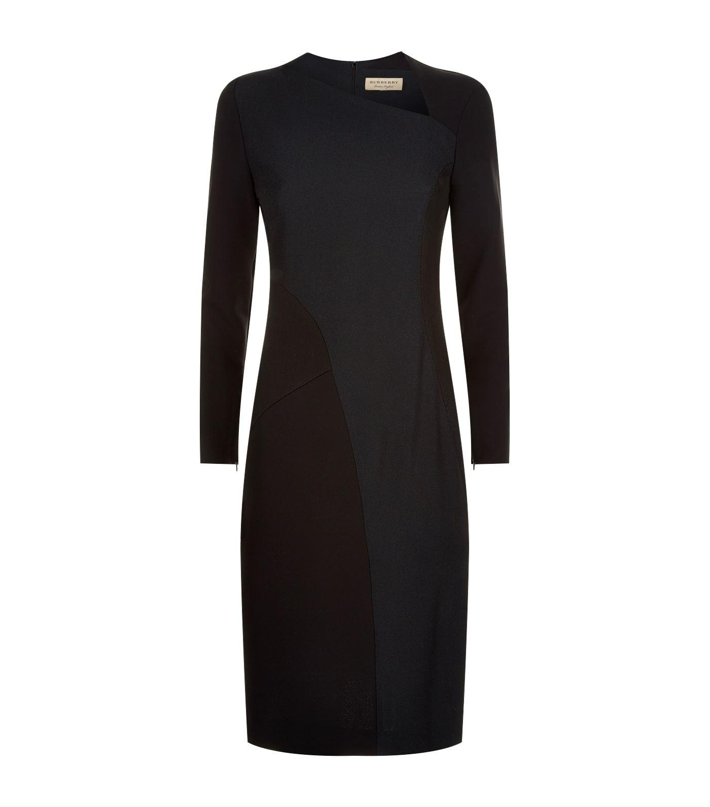 Burberry Fabiana Slash Neck Panel Dress In Black