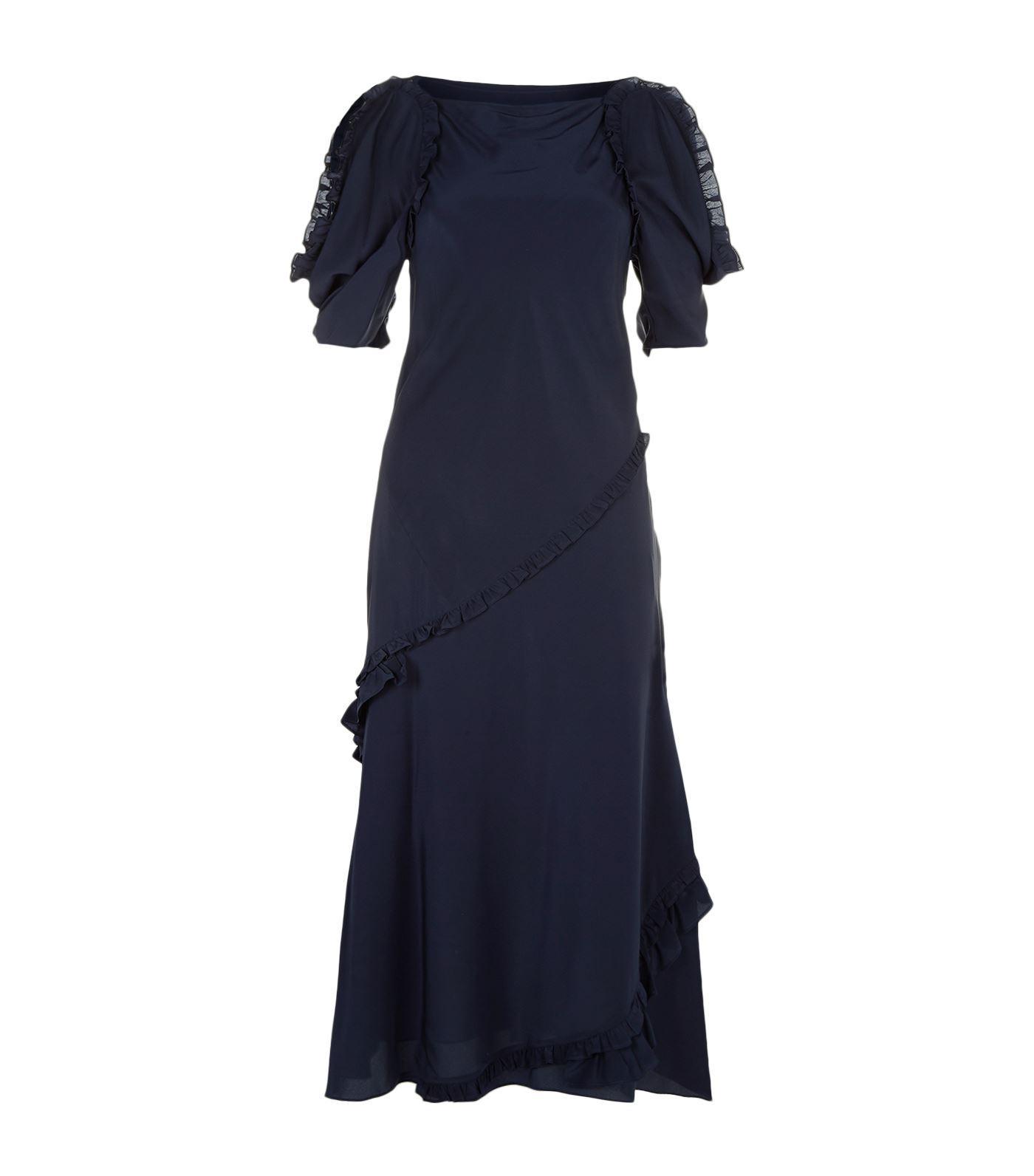 Burberry Didi Cold Shoulder Silk Midi Dress In Blue