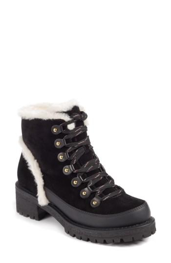 06ee7e9f81ad Tory Burch Women s Cooper Suede And Sheep Fur Lace Up Booties In  Black Natural