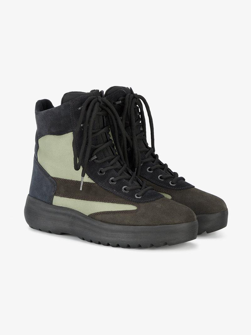 7519b1fd Yeezy Season 5 Leather And Nylon Military Boots In Oil/Military Light/G