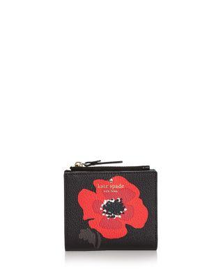 3879b5305c67 Kate Spade New York Hyde Lane Adalyn Poppy Print Leather Wallet In Black  Multi