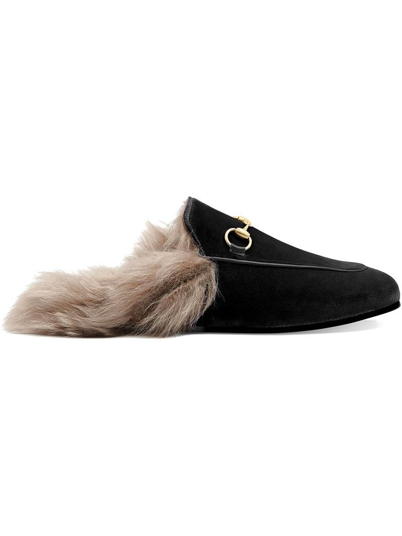 Gucci Princetown Horsebit-detailed Shearling-lined Velvet Slippers In Brown