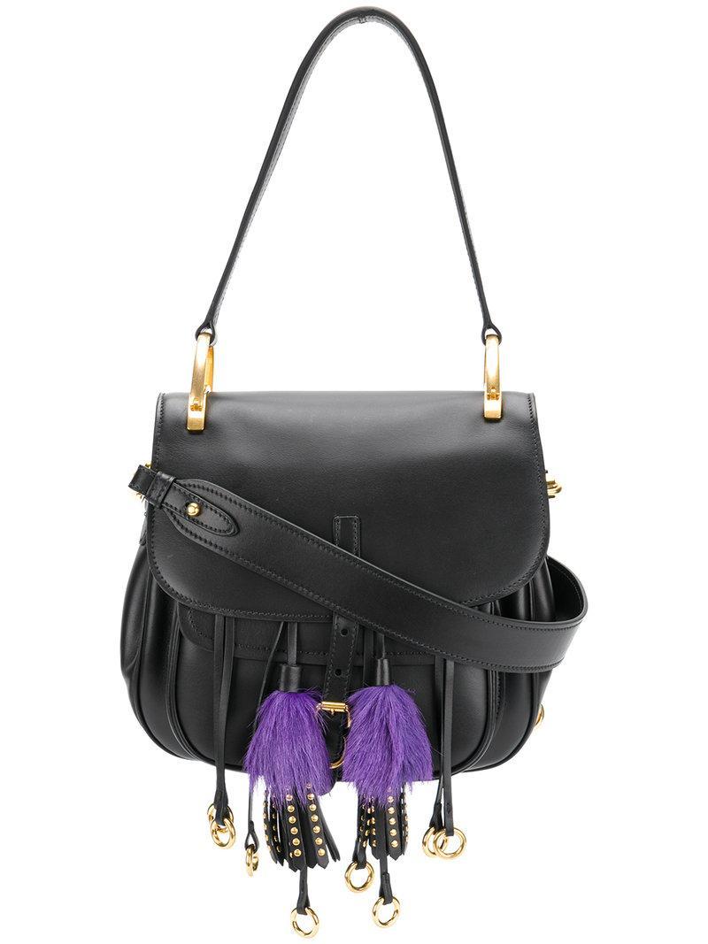 bf1146fdfeec Prada Corsaire Calf Leather Fringe Shoulder Bag In Black