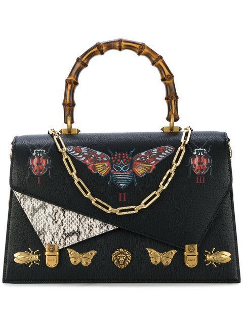 bf504929648 Gucci Ottilia Large Embellished Elaphe-Paneled Printed Leather Tote In Black