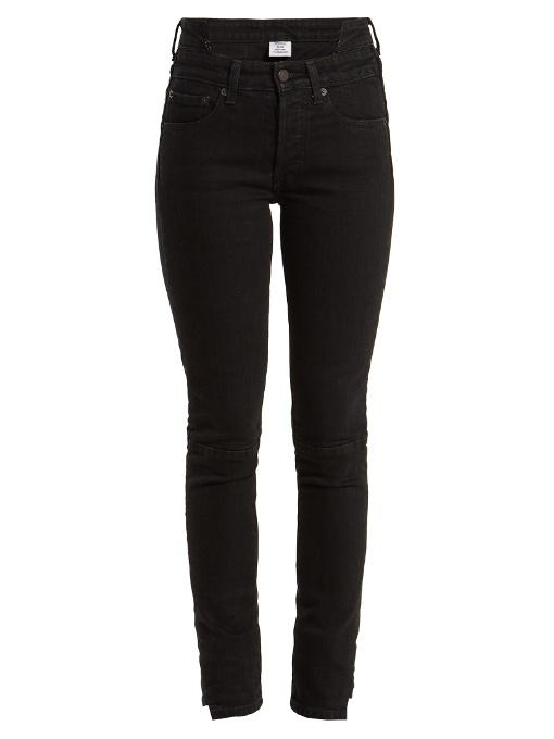 Vetements Rework Biker Straight Cropped High-rise Jeans In Black