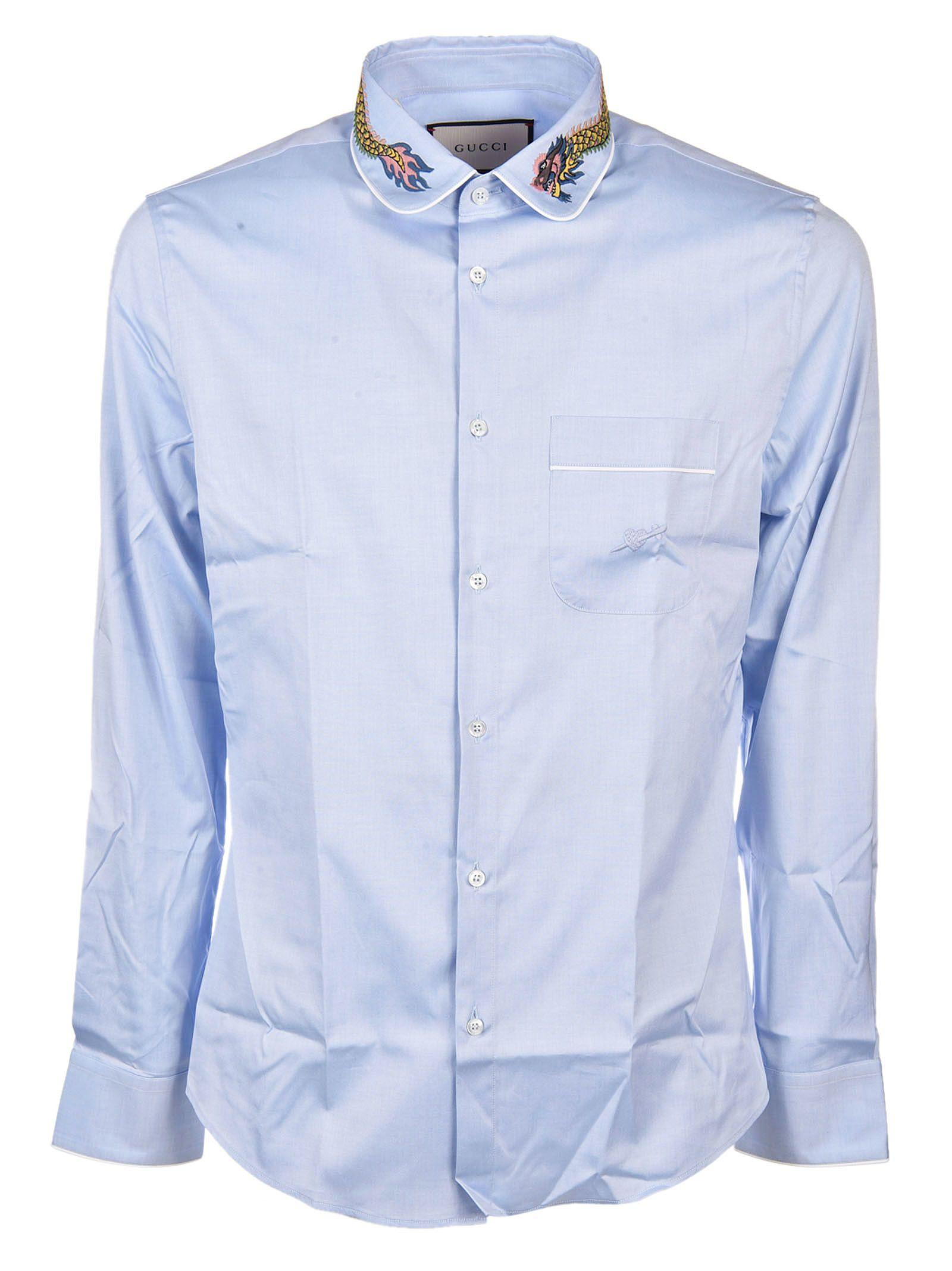 49052f9f Gucci Duke Tiger-Embroidered Shirt, Light Blue | ModeSens
