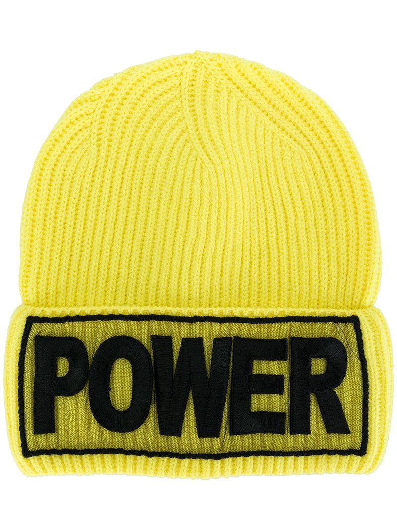 136faaa53a6 Versace Power Manifesto Bright Yellow Wool Knit Hat