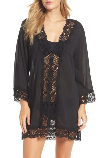 7f3db68b01 La Blanca Island Fare Cotton Crochet-Trim Tunic Women's Swimsuit In Black