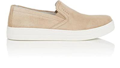 Prada Suede Laceless Sneakers In Deserto