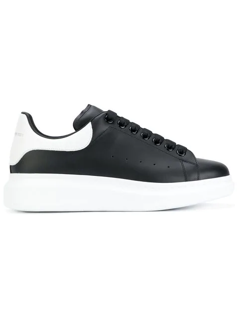 Alexander Mcqueen Mens Black And White Show Leather Platform Trainers