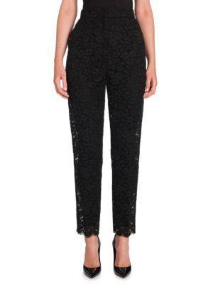 Dolce & Gabbana Black Lace Skinny Tailored Pants