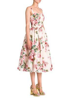 2295d847bb18d Dolce & Gabbana Pleated Floral-Print Silk-Organza Midi Dress In Pastel Pink