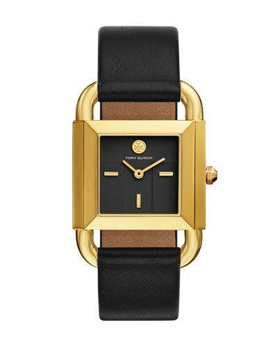 2d181c1ad810 Tory Burch Phipps Goldtone Two-Hand Leather Strap Watch In Black  Gold